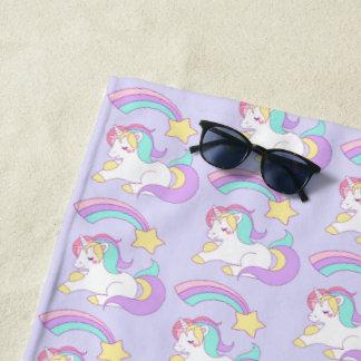 Toalla De Playa Unicornio lindo el dormir con la estrella fugaz