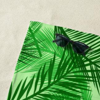 Toalla De Playa Verde lima de hoja de palma de la impresión, de la