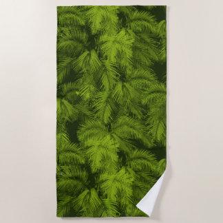 Toalla De Playa Verde tropical hawaiano de las hojas de las palmas