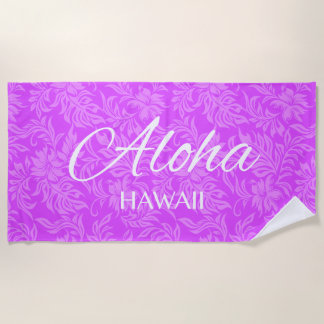 Toalla De Playa Violeta floral de la hawaiana hawaiana del hibisco