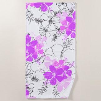 Toalla De Playa Violeta floral del hibisco hawaiano de medianoche
