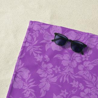 Toalla De Playa Violeta floral hawaiana apenada Pareau del hibisco