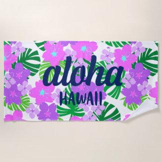 Toalla De Playa Violeta floral hawaiana del vintage del jardín de