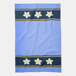 Toalla de té floral azul rústica de la cocina de