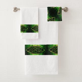 Toalla set, nudo celta, multicolor, verde,