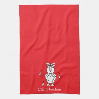 Toallas de cocina rojas personalizadas del pollo
