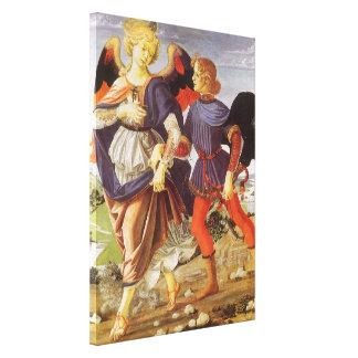 Tobias y el ángel de Andrea del Verrocchio Impresión En Lona Estirada