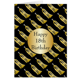 Toca la trompeta el décimo octavo cumpleaños tarjeta