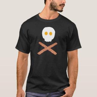 Tocino y huevos cráneo y camiseta de la bandera