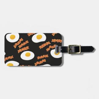Tocino y huevos etiqueta para maletas