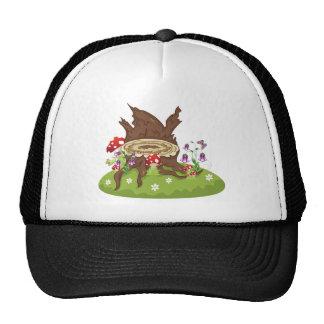 Tocón y setas de árbol gorra