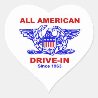 Toda la impulsión americana de la hamburguesa en pegatina en forma de corazón