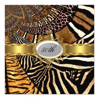 Toda la mirada de la piel animal cualquier fiesta invitación 13,3 cm x 13,3cm