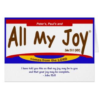 Toda mi tarjeta del señor nota de la alegría,