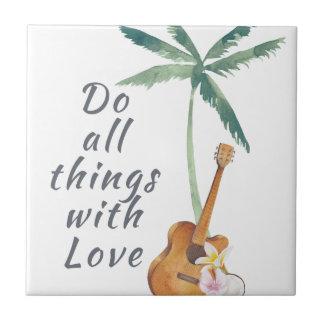Todas las cosas con el amor tropical azulejo cuadrado pequeño