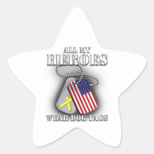 Todas mis placas de identificación del desgaste de calcomanías forma de estrellaes personalizadas