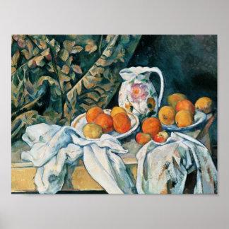 Todavía de Cezanne cortina de la vida, jarra Póster