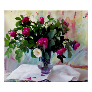 Todavía del florero impresión color de rosa de la
