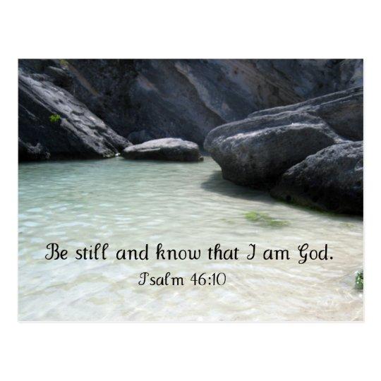 Todavía esté y sepa que soy dios. 46:1 del salmo postal