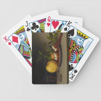 Todavía vida con la fruta, las tortas y el vino, 1 baraja de cartas bicycle