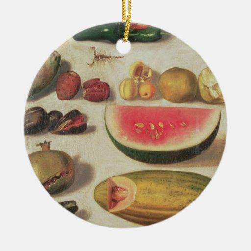 Todavía vida con la fruta y el sapo adorno