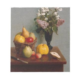 Todavía vida con las flores y la fruta bloc de notas