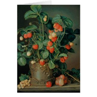 Todavía vida con las fresas tarjeta de felicitación