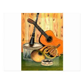 Todavía vida con los instrumentos musicales postal