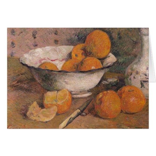Todavía vida con los naranjas, 1881 tarjeta de felicitación