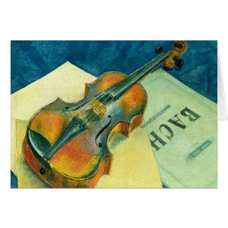 Todavía vida con un violín, 1921 tarjeta