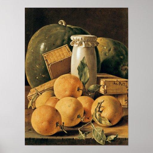 Todavía vida de naranjas, sandía impresiones