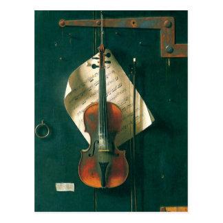 Todavía violín viejo de la vida, Harnett, Postal