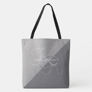 todo encima - con monograma gris impresa grande de bolsa de tela
