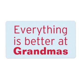 Todo es mejor en la abuela etiqueta de envío