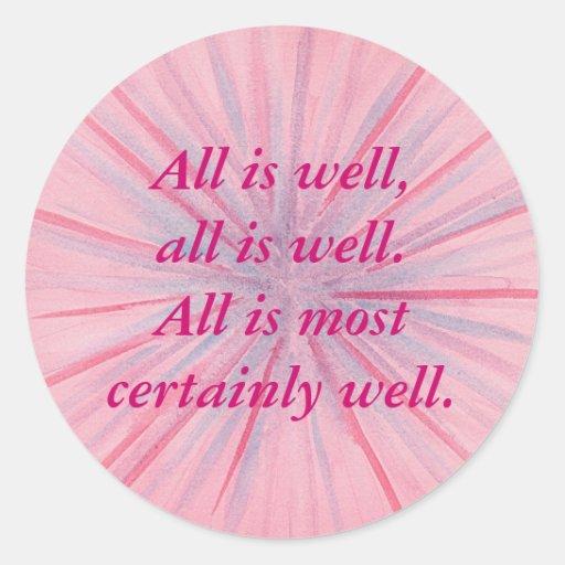 Todo está los bien, rosados y azules pegatinas de etiquetas redondas