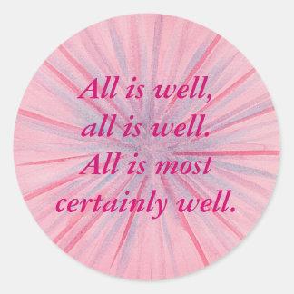 Todo está los bien, rosados y azules pegatinas de pegatina redonda