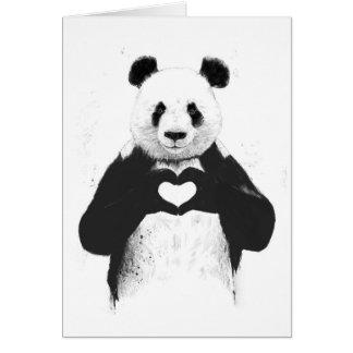 Todo lo que usted necesita es amor tarjeta de felicitación