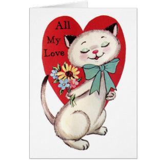 Todo mi diseño del gato del amor de la tarjeta del
