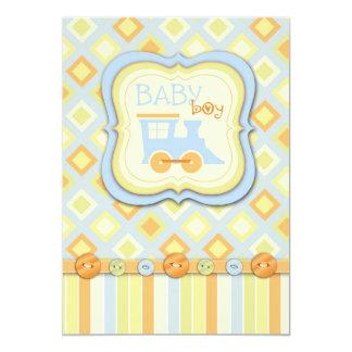 Todos a bordo de fiesta de bienvenida al bebé del invitación 12,7 x 17,8 cm