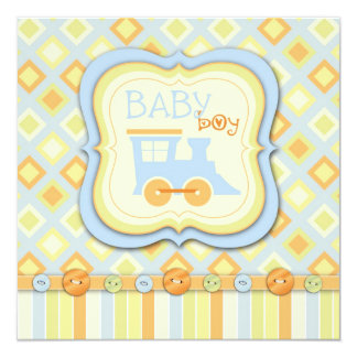 Todos a bordo de fiesta de bienvenida al bebé del invitación 13,3 cm x 13,3cm