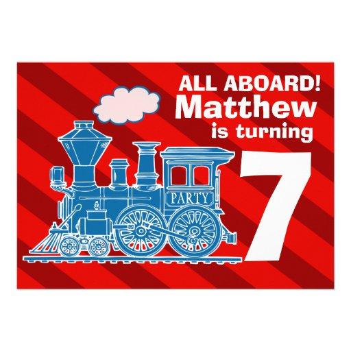 Todos a bordo de fiesta de cumpleaños del tren de  invitacion personal