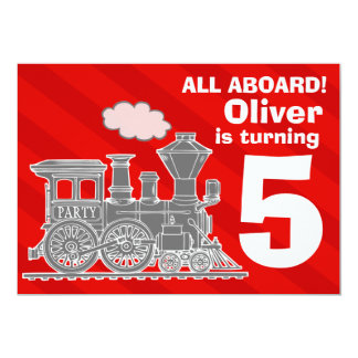 Todos a bordo de fiesta de cumpleaños del tren de invitación 12,7 x 17,8 cm