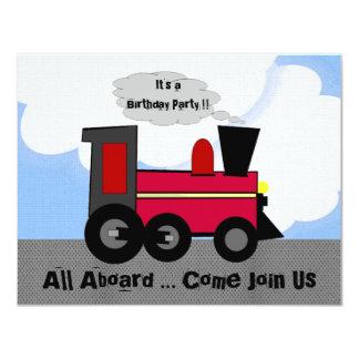 Todos a bordo del fiesta del tren invitación 10,8 x 13,9 cm