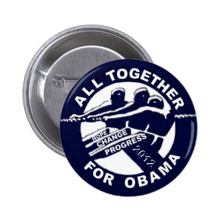 Todos junto para Obama 2012 Chapa Redonda De 5 Cm