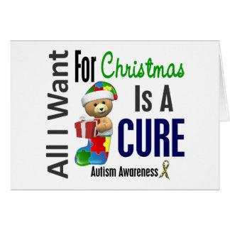 Todos lo que quiero para el autismo del navidad tarjeta de felicitación