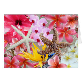 Todos ocasionan la nota hawaiana de las flores y tarjeta de felicitación