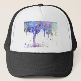 Toldo de árbol púrpura abstracto de la acuarela gorra de camionero