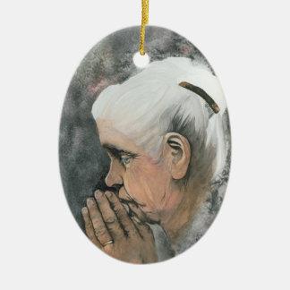 Tolerancia asombrosa adorno navideño ovalado de cerámica