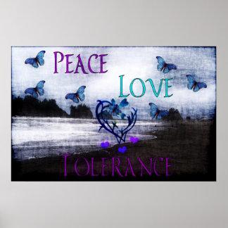 Tolerancia del amor de la paz póster