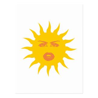 Toma el sol cara sun face tarjeta postal